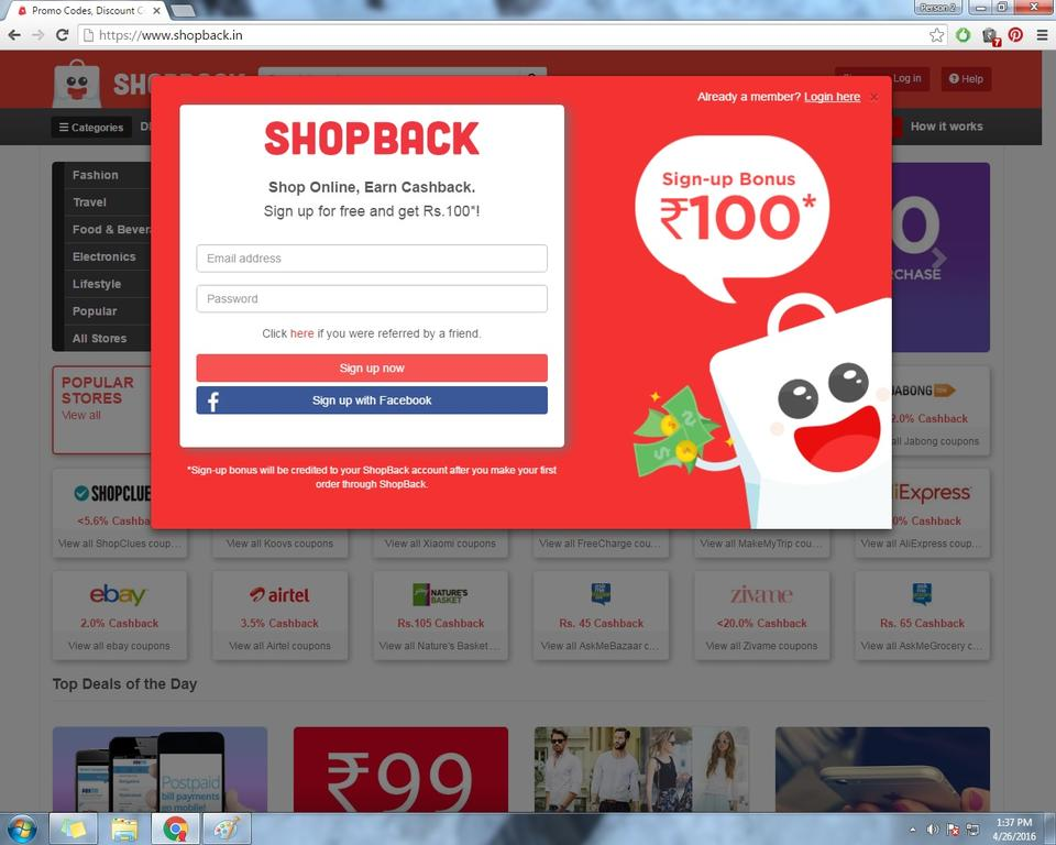 Shopback.in home page